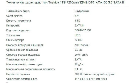 Характеристики Toshiba 1TB 7200rpm