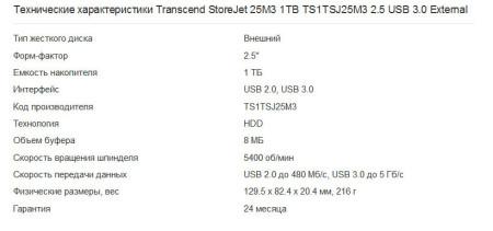 Transcend StoreJet 25M3 1TB TS1TSJ25M3 2.5 USB 3.0 External характеристики